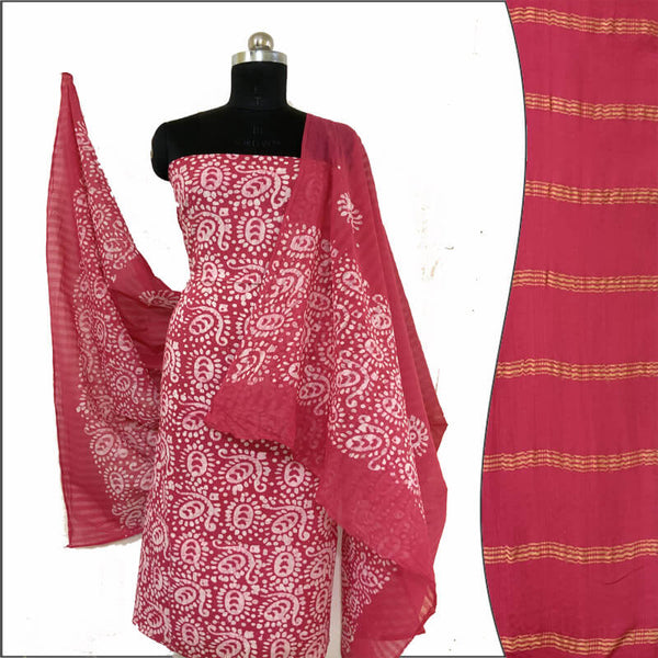 Hand Print Batik Salwar Suit Fabric - 100 % Cotton