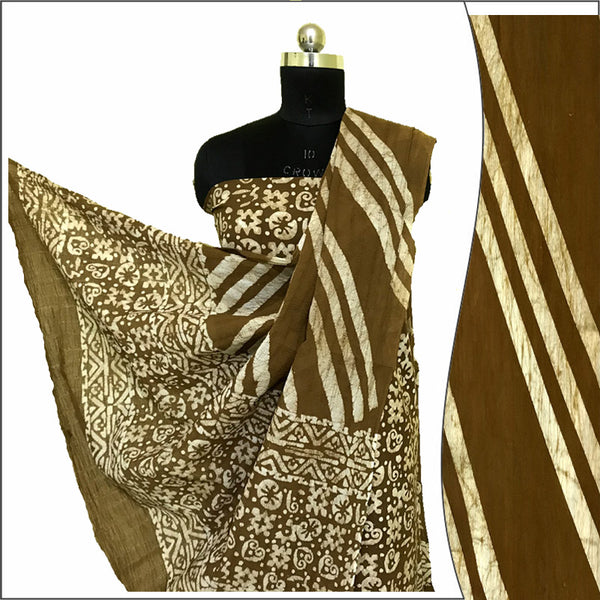 Hand Batik Print Yellow Suit Fabric- 100 % Cotton