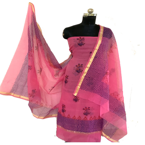 Kota Doria Unstitched Carnation Pink Kurta And Dupatta With Bottom