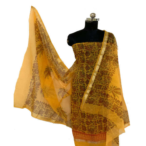 Kota Doria Yellow Unstitched Kurta & Dupatta Fabric (With Bottom)
