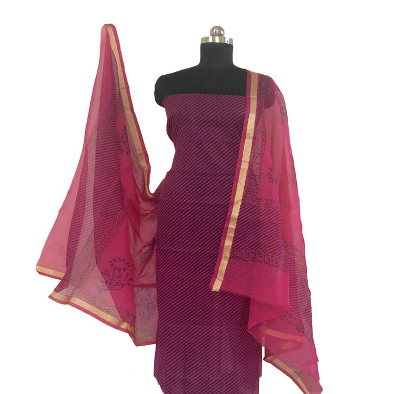 Kota Doria Unstitched Red-Violet Kurta with Leheriya Dupatta Suit
