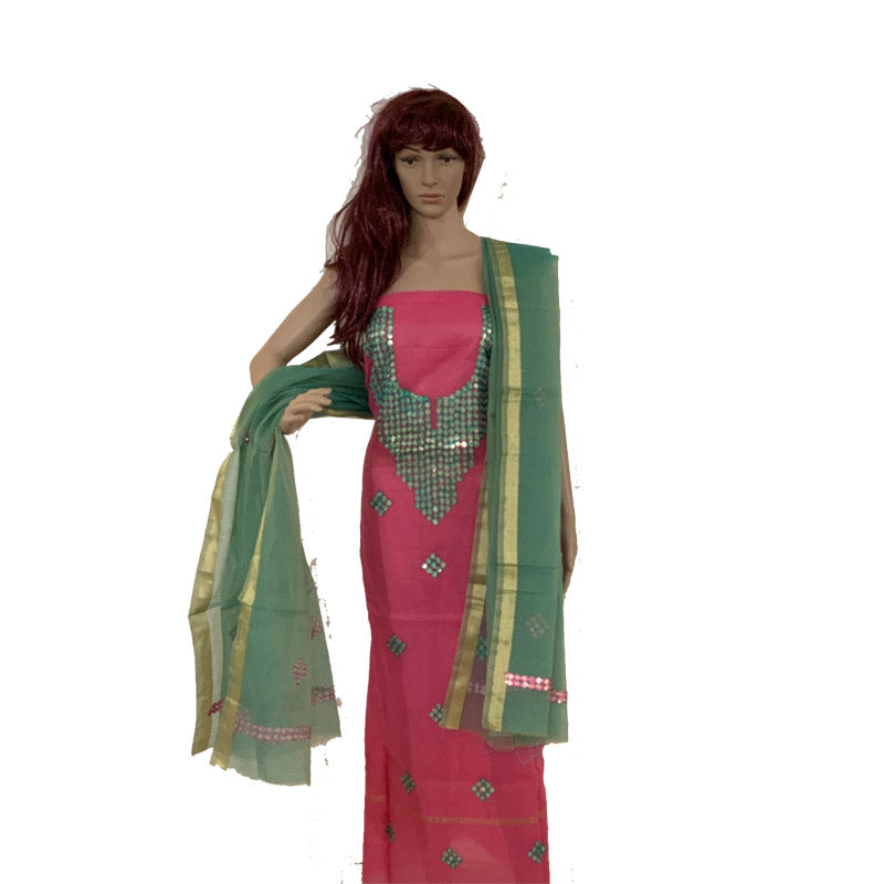 Kota Doria Premium Unstitched Light Pink & Green Kurta And Dupatta Fabric