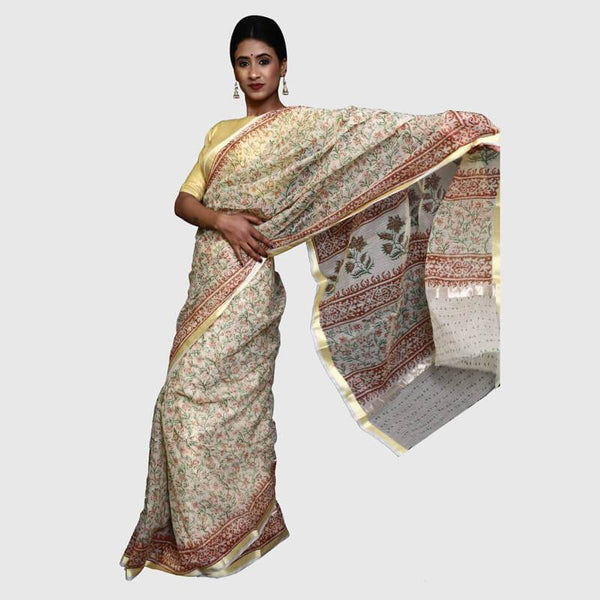 Kota Doria Sarees Beige White (Green With Red)