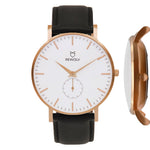 -EDGE- Uhr Rose Gold  Leder Midnight Black