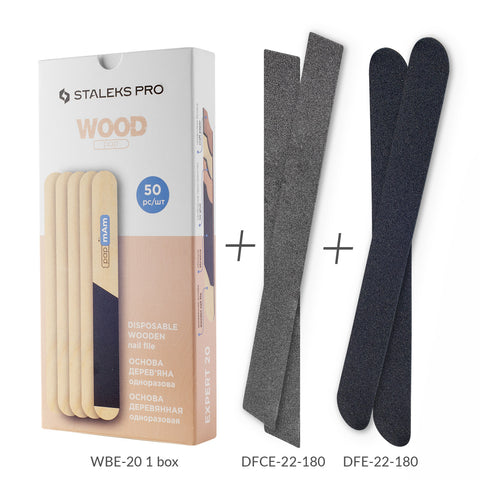 PROMO Disposable Wooden Base 50 pcs WBE-20 with 4 Disposable Nail Files