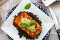 Family Fresh Cooking's Wild Salmon with Basil Aioli and Quinoa