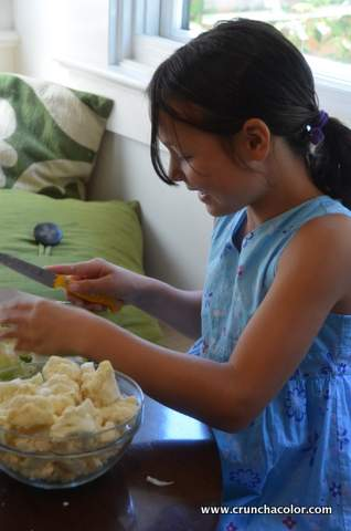 Friendship Garden Soup Chopping Cauliflower