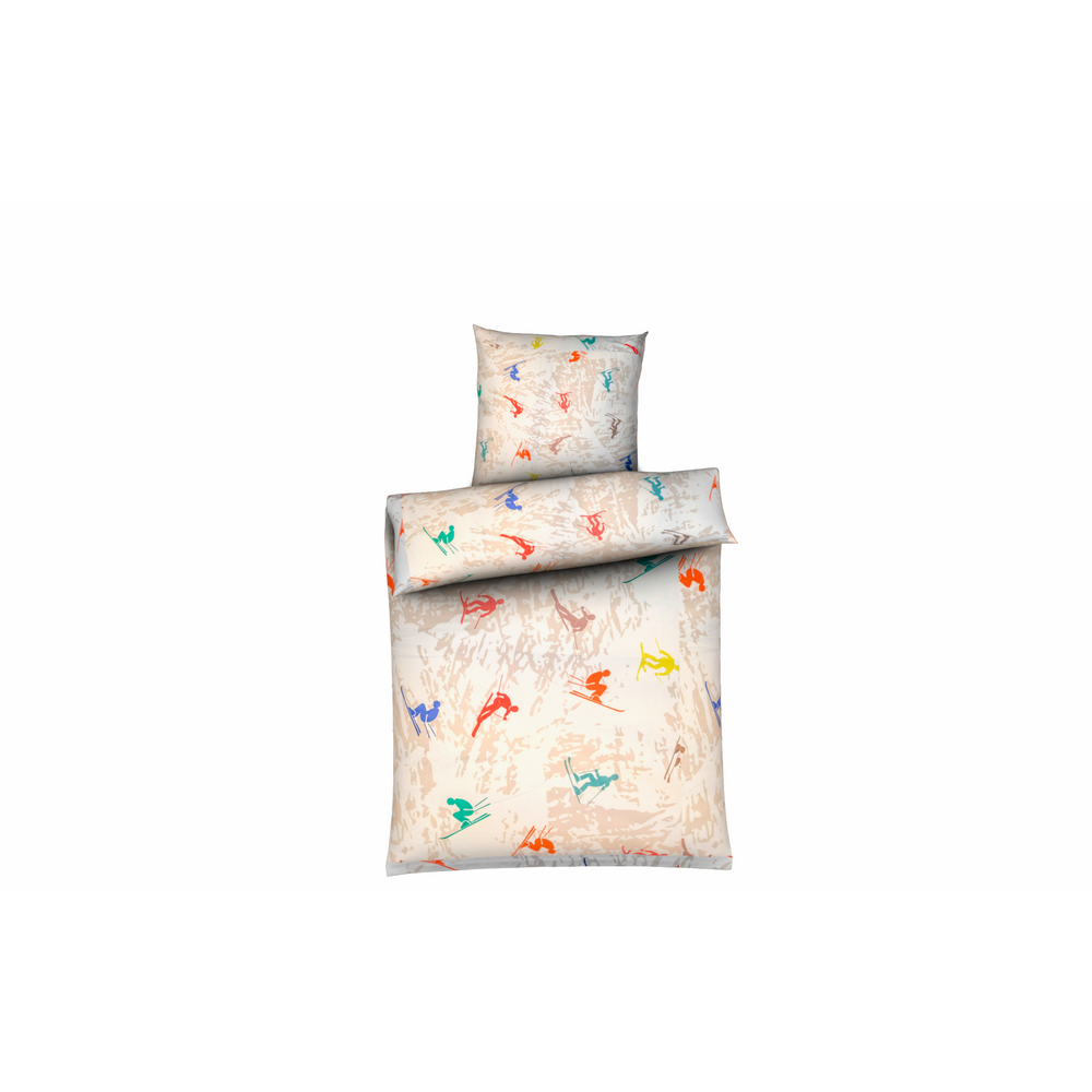 Cotton percale duvet cover and pillowcases printed with skiers
