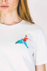 Dolphin Rider Red Embroidered Tee - Unisex