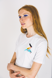 Dolphin Rider Yellow Embroidered Tee - Unisex