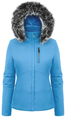 Poivre Blanc Women's 0802 Faux Fur Stretch Ski Jacket in Polar Blue