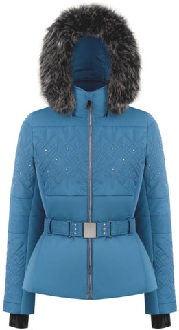 Poivre Blanc 1003 Faux Fur Women's Ski Jacket in Fancy Twilight Blue