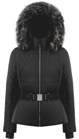 Poivre Blanc 1003 Faux Fur Women's Slim Fit Stretch Ski Jacket in Black