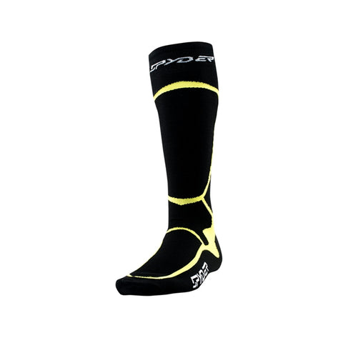 Spyder Pro Liner Mens Ski Snowboard Socks Black and Bryte Green