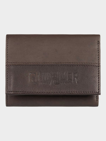 Quiksilver Bonzo Cruella - Leather Tri-Fold Wallet in Chocolate Brown