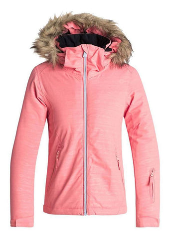 Roxy Jet Ski Embossed Snow Jacket for Girls in Shell Pink Style: ERGTJ03056