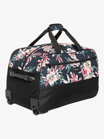 Roxy Feel It All 67L Large Wheeled Duffle bag in Anthracite Wonder Garden