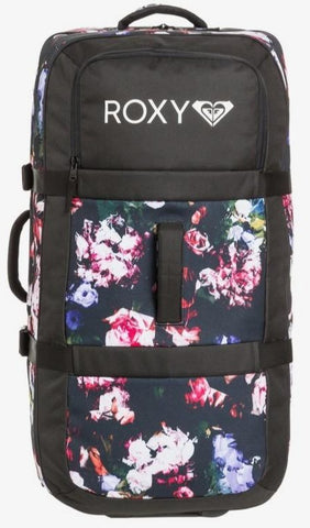 Roxy Long Haul 105L - Large Wheeled Suitcase in True Black Blooming Party