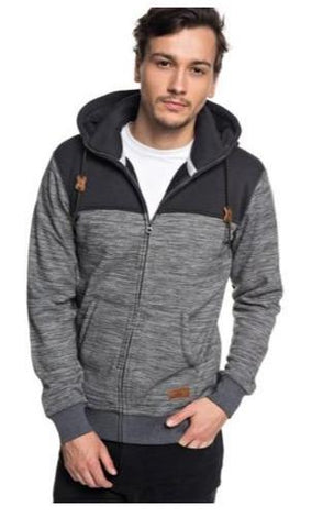Quiksilver Mens Keller Zip-Up Polar Fleece Hoodie Dark Grey Heather