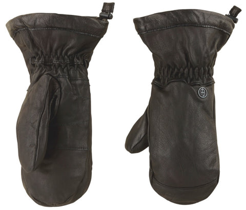 Poivre Blanc Women's Real Leather Mittens in Black