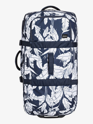 Roxy Long Haul 105L Extra-Large Wheeled Suitcase in Mood Indigo Flying Flowers