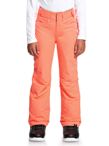 Roxy Backyard Girls Ski Pant in Living Coral