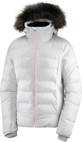 Salomon Stormcozy Women's Ski Jacket in White/Lunar Rock