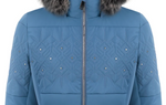 Poivre Blanc Riva 1003 Faux Fur Women's Ski Jacket in Fancy Twilight Blue close up