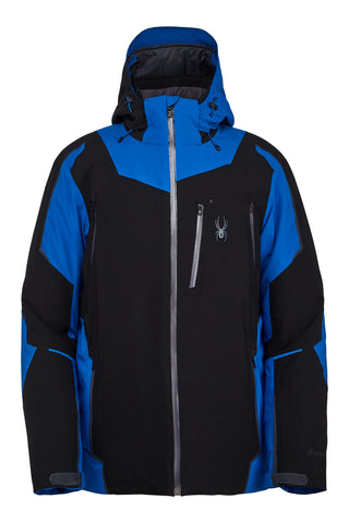 Spyder Leader GTX GoreTex Mens Ski Jacket in Black & Old Glory Blue
