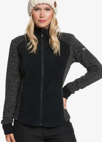 Roxy Women's Surface Technical Zip-Up Fleece in True Black