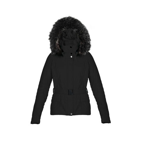 Poivre Blanc 1000 Poivre Blanc Faux Fur Ladies Ski Jacket Belted Black