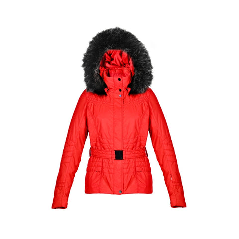 Poivre Blanc 1000 Faux Fur Ladies Ski Jacket Belted Cherry