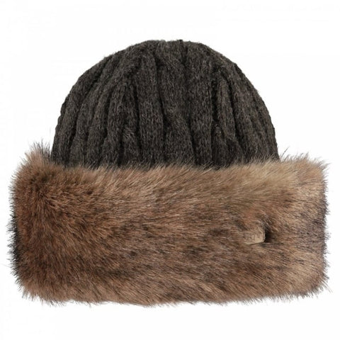 Barts Fur Cable Ladies Bandhat in Heather Brown