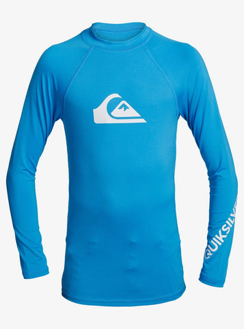 Quiksilver All Time Long Sleeve Junior UPF 50 Rash Vest in Medium Blue style: EQBWR03128-BMM0