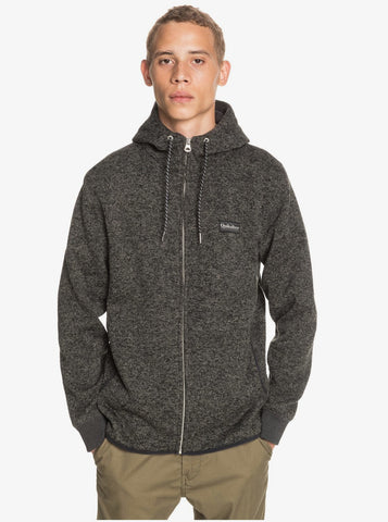 Quiksilver Keller Zip-Up Polar Fleece Hoodie for Men in Dark Grey Heather