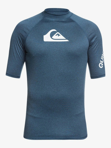 Quiksilver All Time Short Sleeve Mens UPF 50 Rash Vest in Majolica Blue Heather