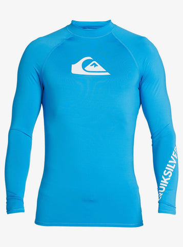 Quiksilver All Time Long Sleeve UPF 50 Rash Vest in Blithe Blue