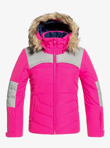 Roxy Bamba Girls Ski Jacket in Beetroot Pink