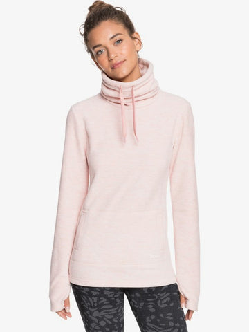 Roxy Snow Flakes Vibes High Collar Polar Fleece for Women in Silver Pink Style: ERJFT04260-MFC0