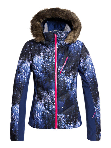 Roxy Snowstorm Plus Womens Ski Jacket in Blue Sparkels