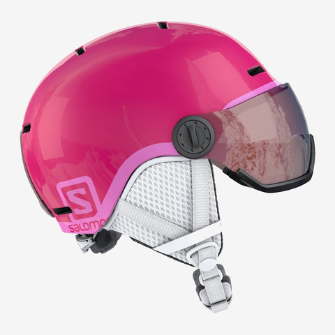 Salomon Grom Visor Helmet Glossy Pink in Kids Medium