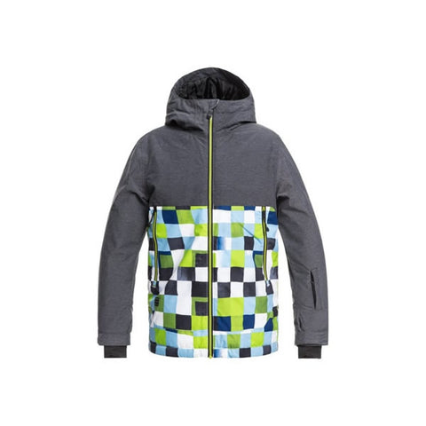 Quiksilver Sierra Youth Snow Jacket Lime Green Check Atomic