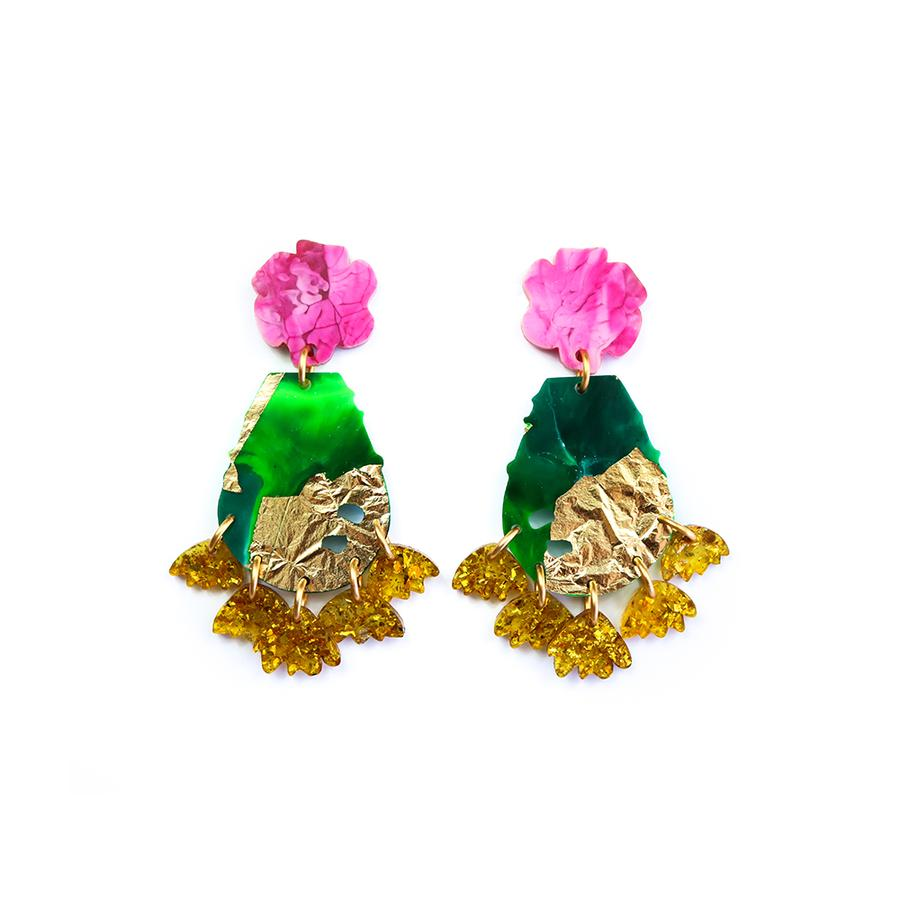 Concrete Jellyfish Blooming Prickly Pear Earring