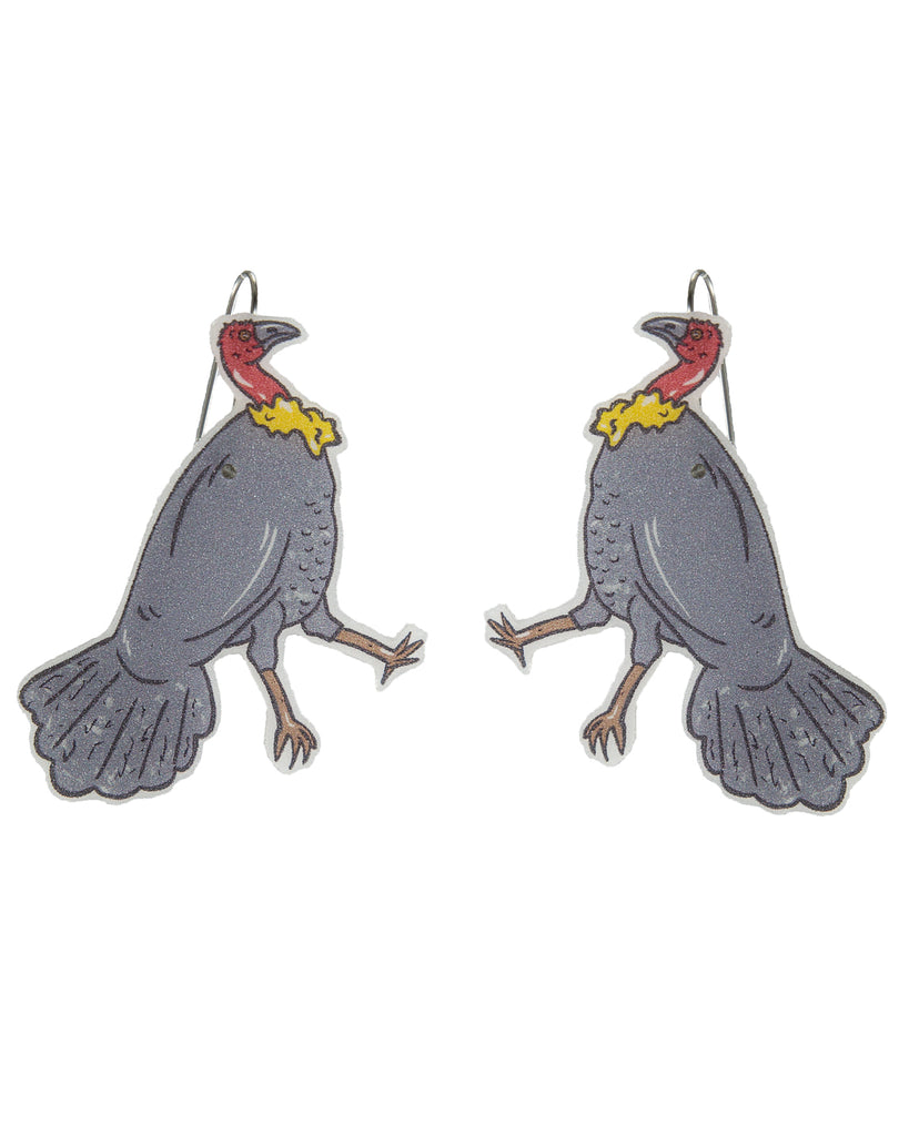 Busy Head Bush Turkey Earrings