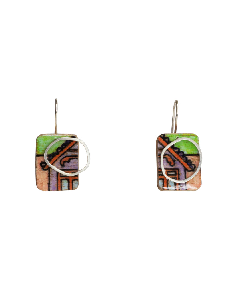 Chloe Waddell Hand-Coloured Plywood Earring #1