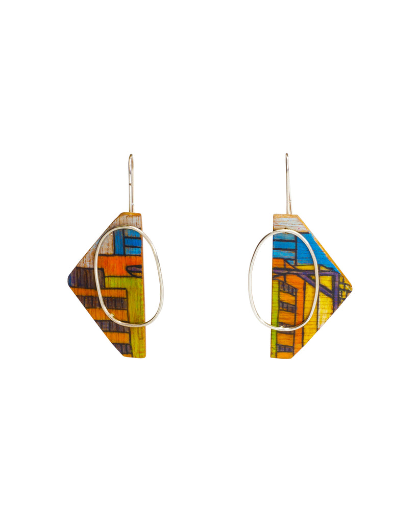 Chloe Waddell Hand-Coloured Plywood Earring #2