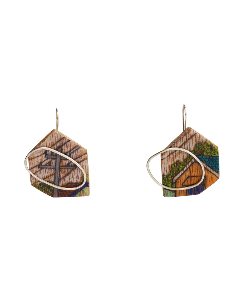 Chloe Waddell Hand-Coloured Plywood Earring #3