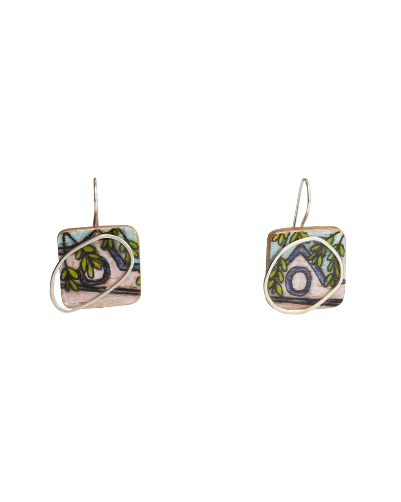 Chloe Waddell Hand-Coloured Plywood Earring #4