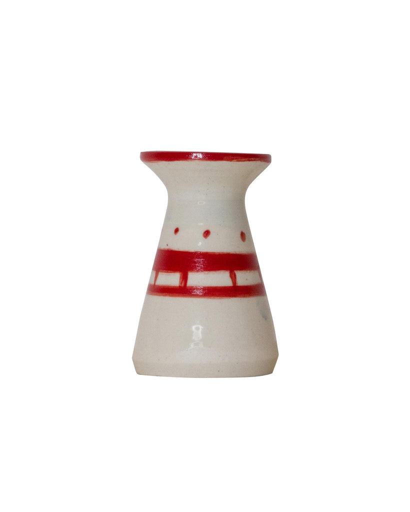 Hiroaki Eba Ceramic Vase for Tiny Flowers RED & WHITE