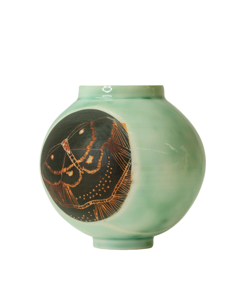 Shannon Garson Moth & Leaf Moon Vase Green with Black